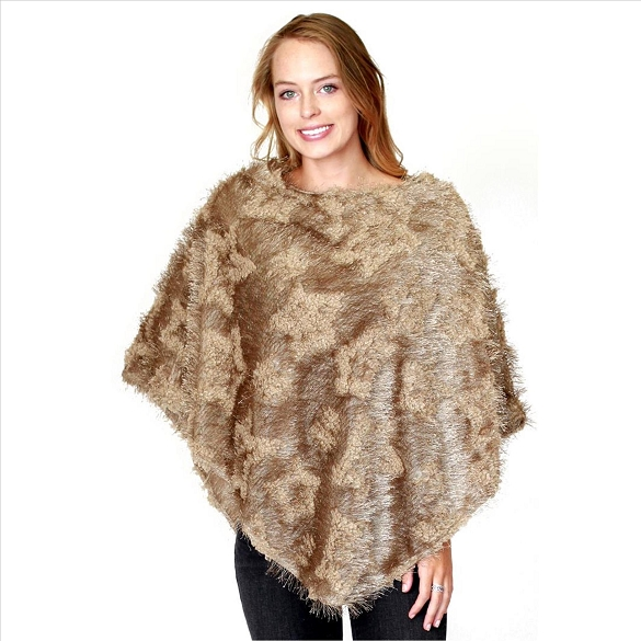 6 Pack Mohair Feel Ponchos - Champagne