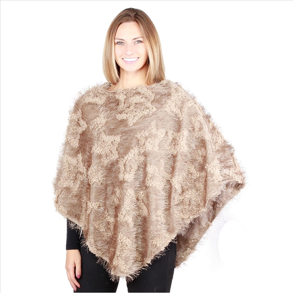 Cashmere Feel Ponchos - Champagne