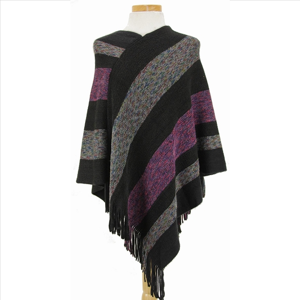 V-Neck Ponchos - Black Multi