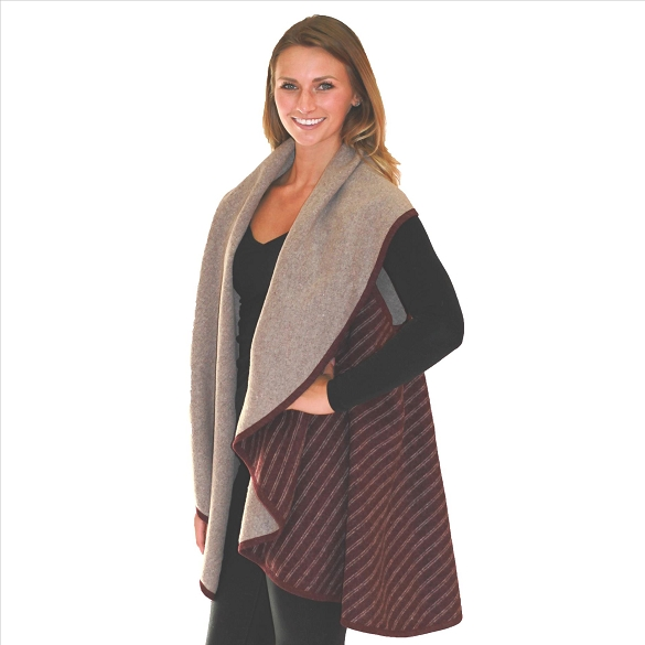 Striped Vest With Contrasting Collar - Burgundy / Taupe