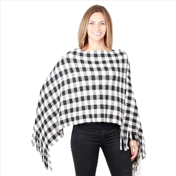 6 Pack Amazing Plaid Ponchos - Black / White