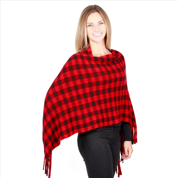 6 Pack Amazing Plaid Ponchos - Red / Black