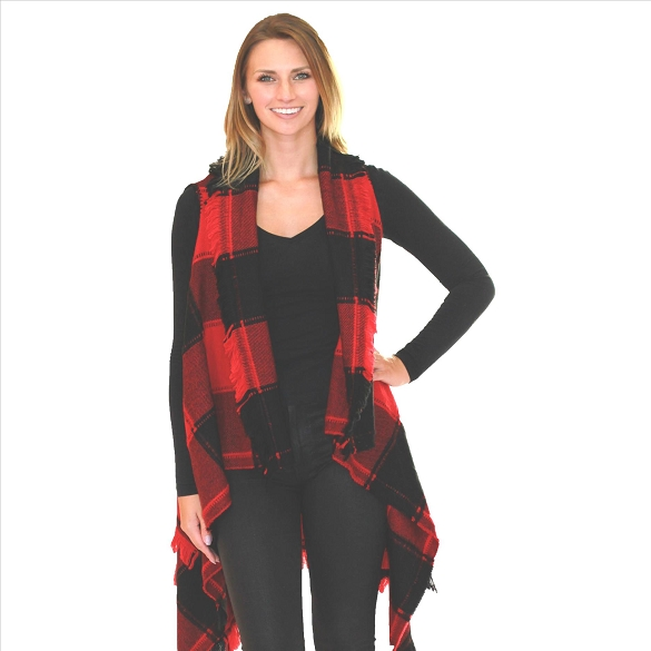 6 Pack Striking Buffalo Plaid Vests - Black / Red