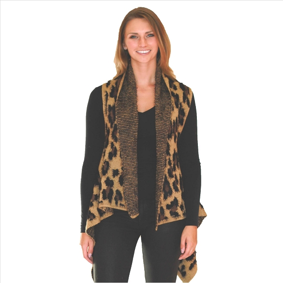 6 Pack Awesome Mohair Feel Vest - Cheetah Print Camel