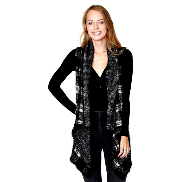 6 Pack Awesome Mohair Feel Plaid Vest - Black / White