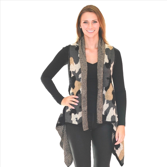 6 Pack Awesome Mohair Feel Vest - Camo Print Grey