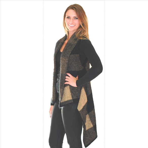 Awesome Cashmere Feel Vest - Buffalo Plaid - Black / Cream