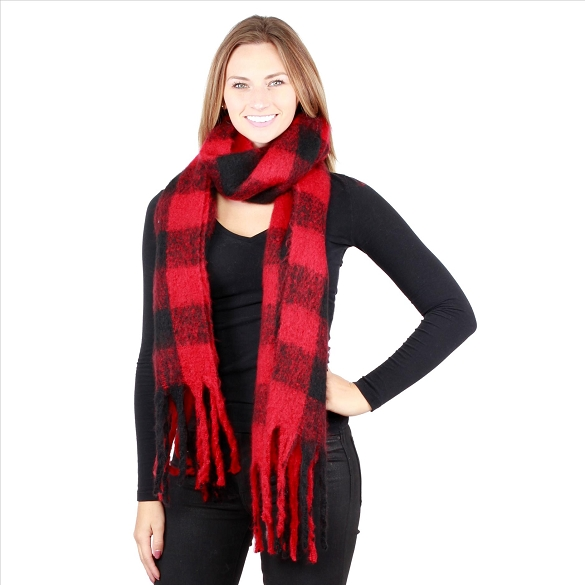 6 Pack Buffalo Plaid Scarves - Red / Black