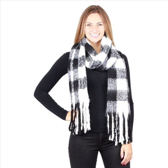 6 Pack Buffalo Plaid Scarves - Black / White