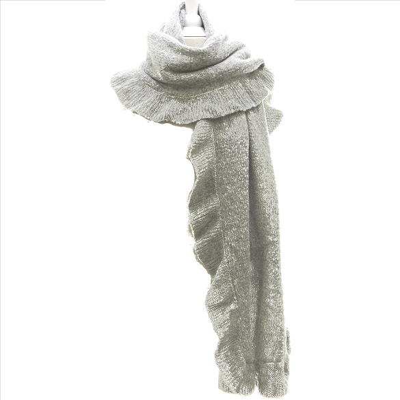 Solid Ruffle Scarves - Grey
