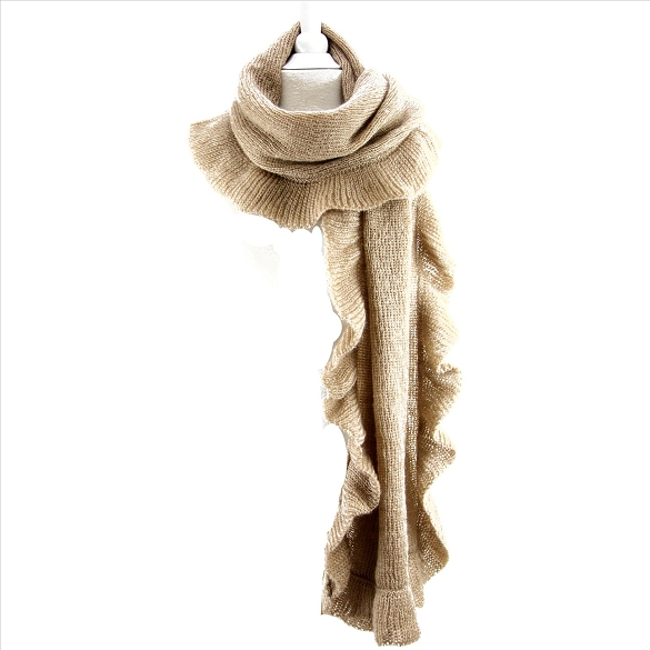 Solid Ruffle Scarves - Camel