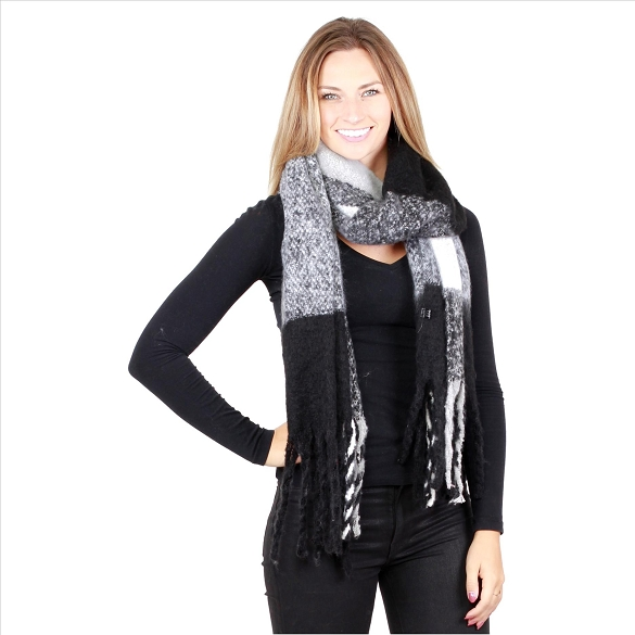 6 Pack Color Block Scarves - Black