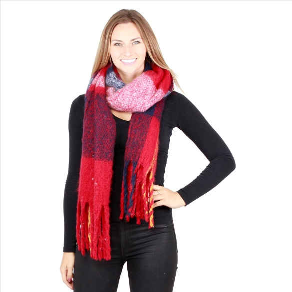 6 Pack Plaid Scarves - Red / Black