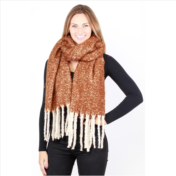 6 Pack Knit Scarves - Camel