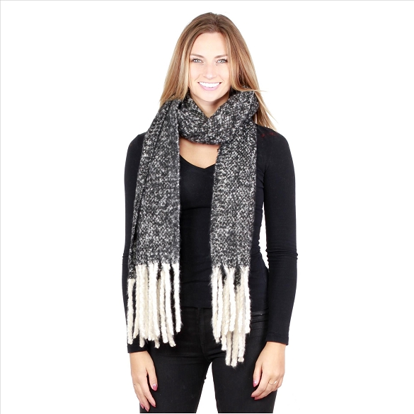 6 Pack Knit Scarves - Black