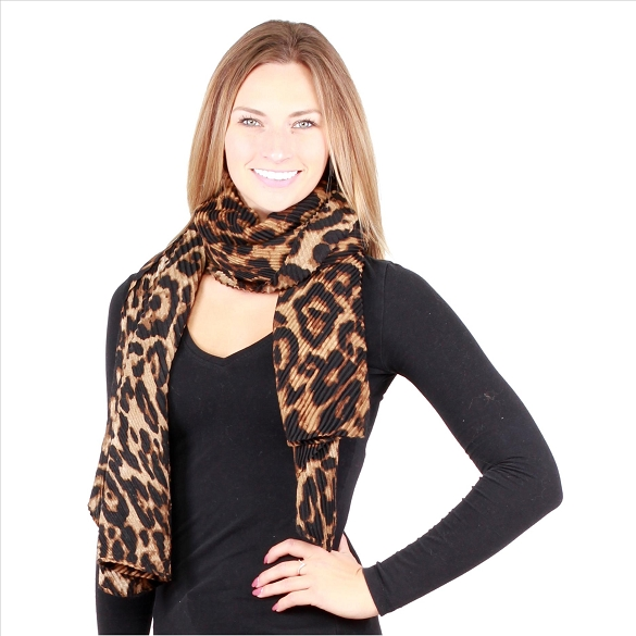 6 Pack Awesome Pleated Scarves - Cheetah Brown