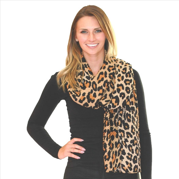 6 Pack Awesome Pleated Scarves - Cheetah Brown Orange