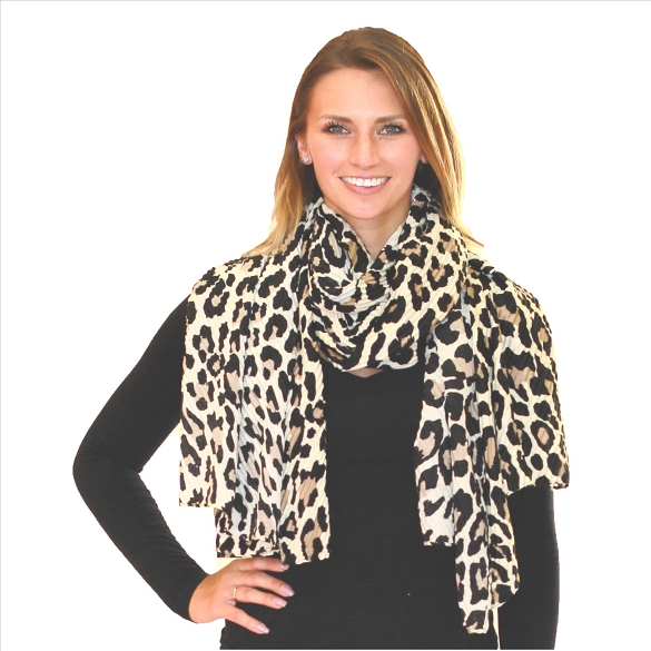 6 Pack Awesome Pleated Scarves - Cheetah Ivory