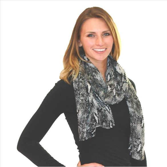 6 Pack Awesome Pleated Scarves - Snake Print