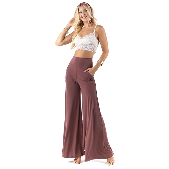 High Waist Palazzo Pants with Pockets - Mauve