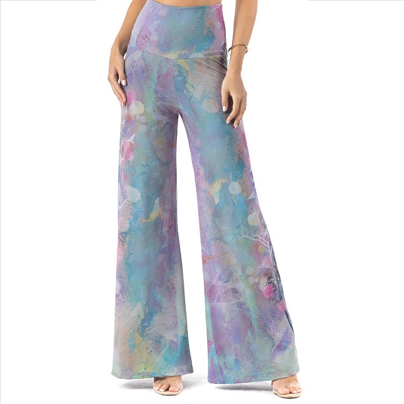 Plus Size Palazzo Pants with Pockets - Multi-Blue Watercolor Print