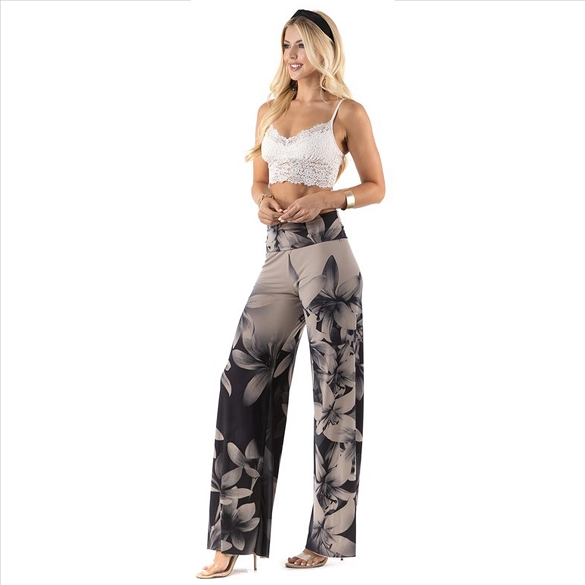 High Waist Palazzo Pants with Pockets - Dark Lily