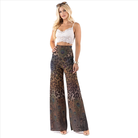 High Waist Palazzo Pants with Pockets - Animal and Feather