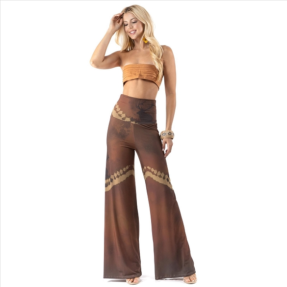 High Waist Palazzo Pants with Pockets - Deer Scenery