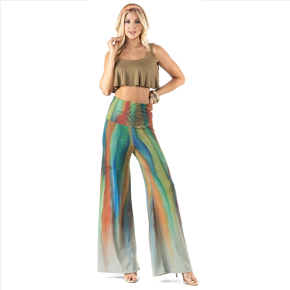 High Waist Palazzo Pants with Pockets - Multi-Stripe