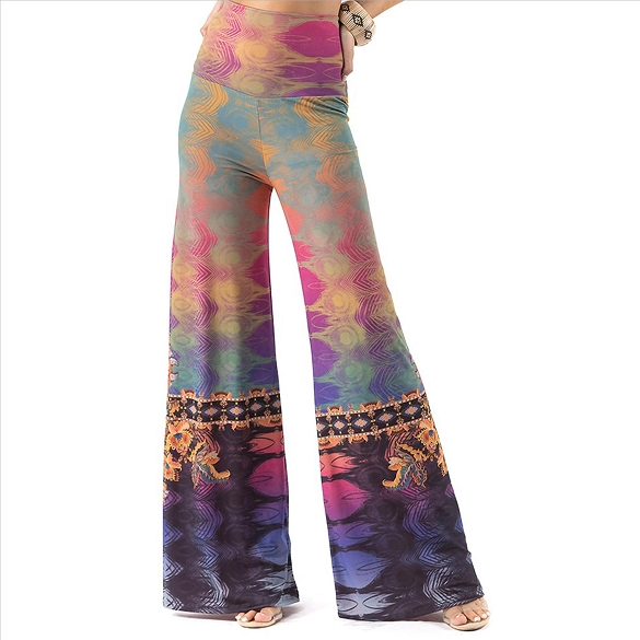 Plus Size Palazzo Pants with Pockets - Multi-Color Abstract Print