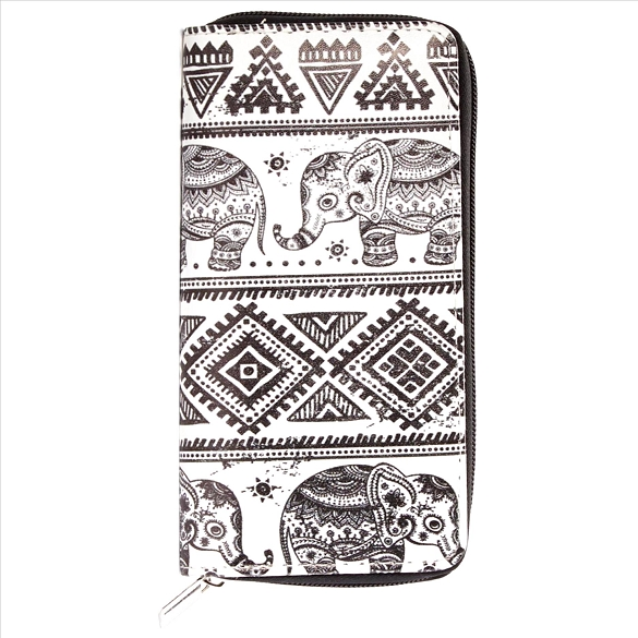 Black and White Elephant Wallet