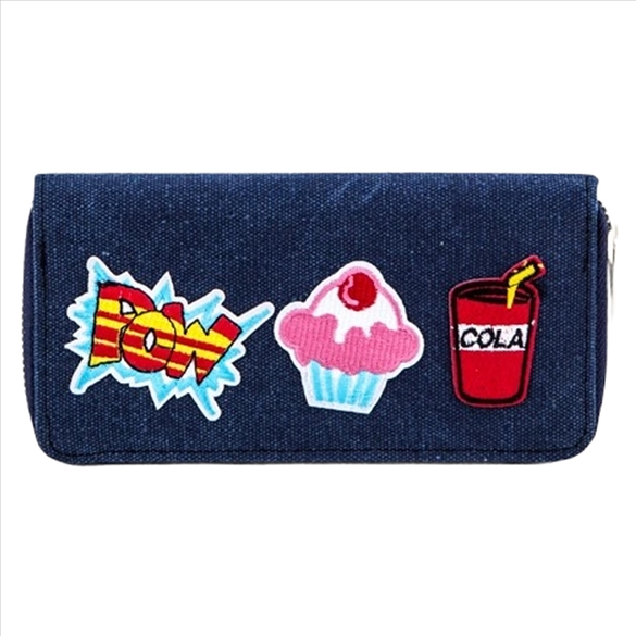 Mixed Patches on Denim Wallet