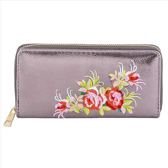 Embroidered Rose on Silver Wallet