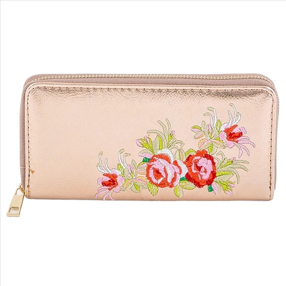 Embroidered Rose on Gold Wallet