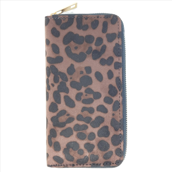 Camo Print Ultra-Suede Wallets - Brown