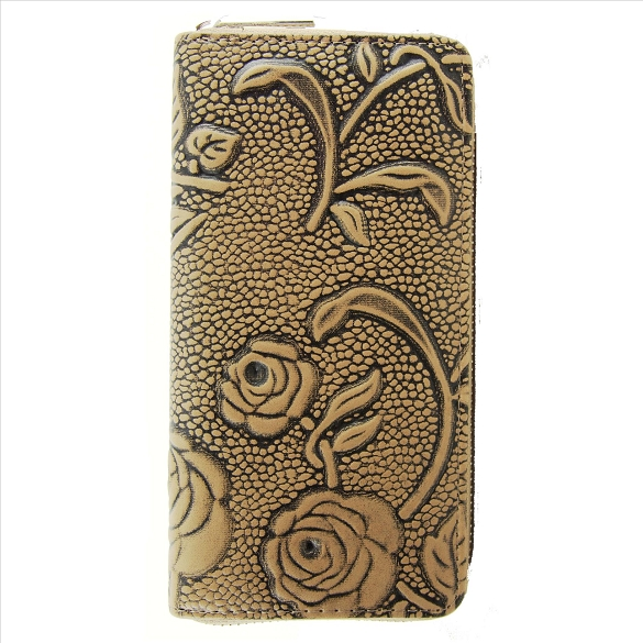 Embossed Rose Print Wallet