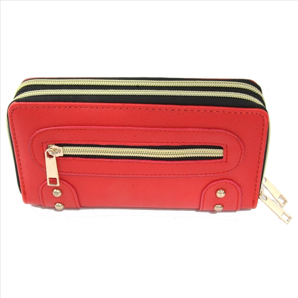 Double Zip Wallet with Side Pocket - Red