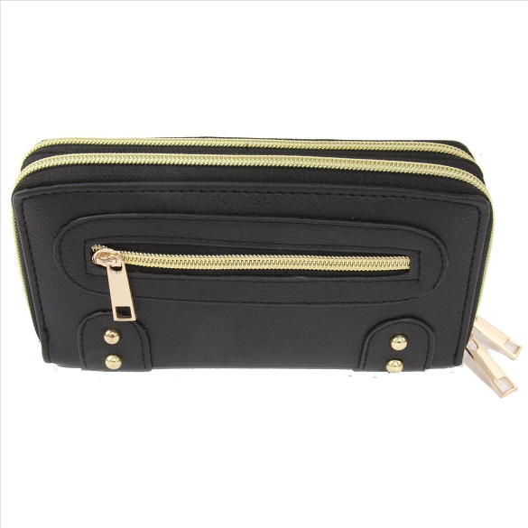 Double Zip Wallet with Side Pocket - Black