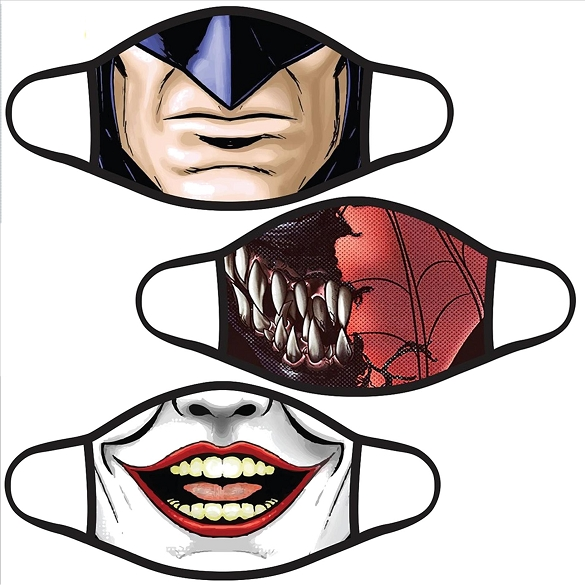 Assorted Halloween Action Figures Youth Face Masks - 9 Pack