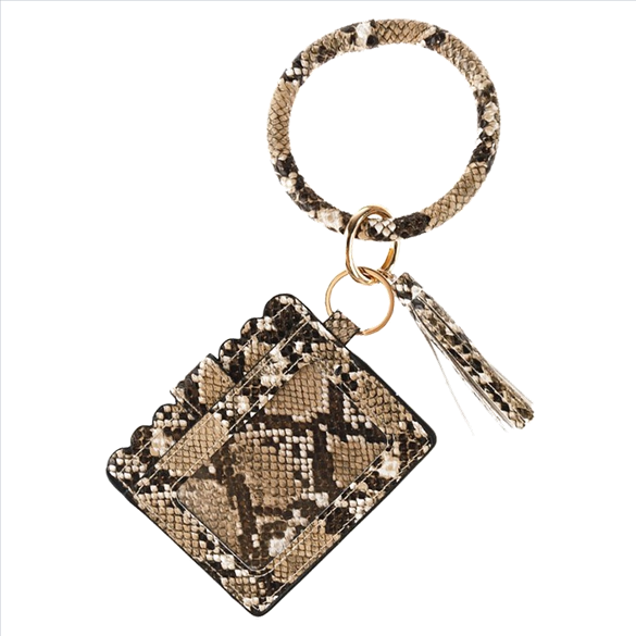Wristlet ID Card Holder - Mocha Snake Print
