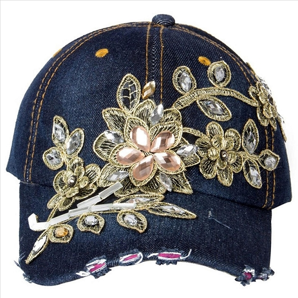 Amazing Bling Flower Hat - Denim