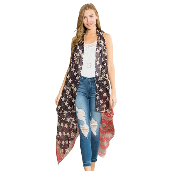 Distressed USA American Flag Vest