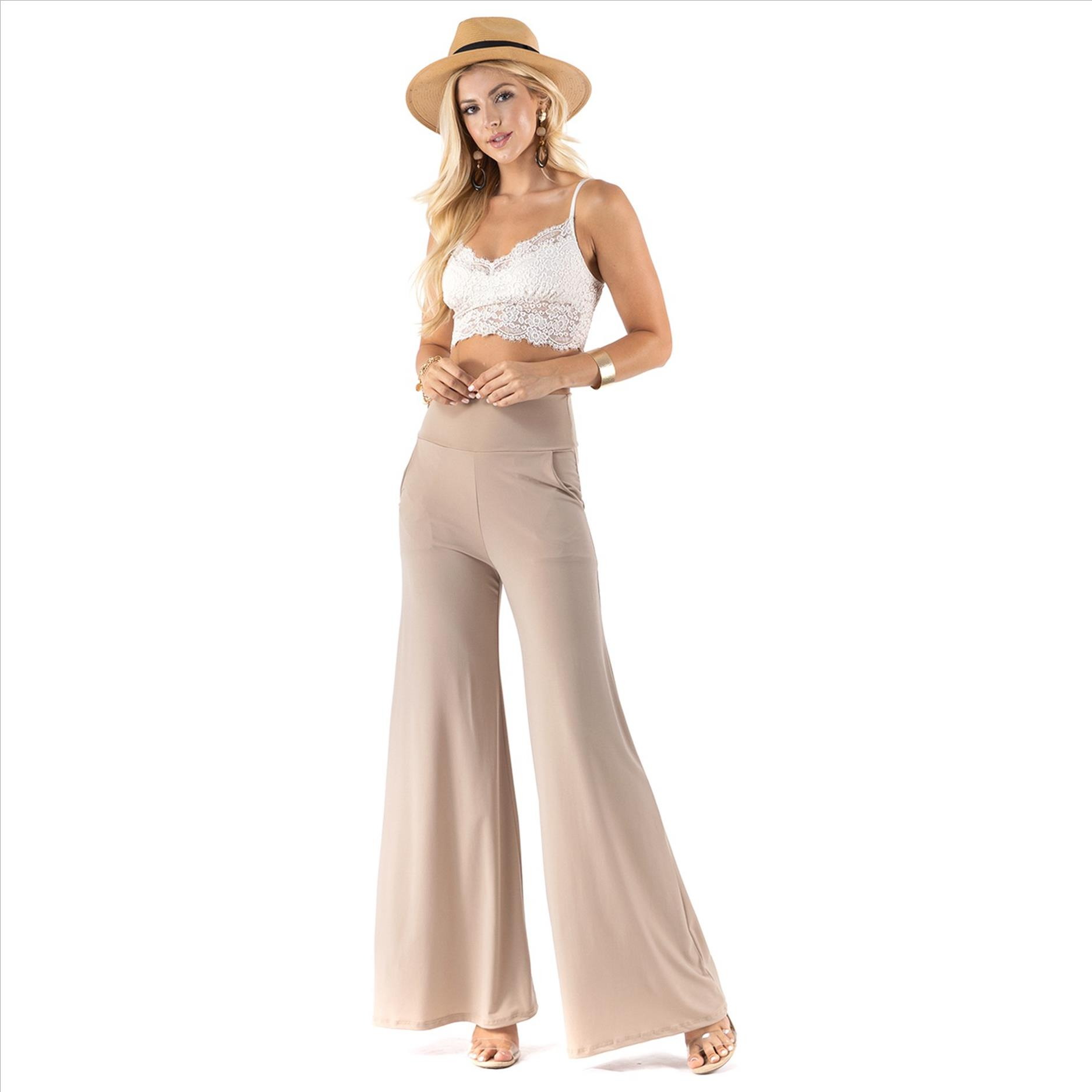 High Waist Palazzo Pants with Pockets - Stone