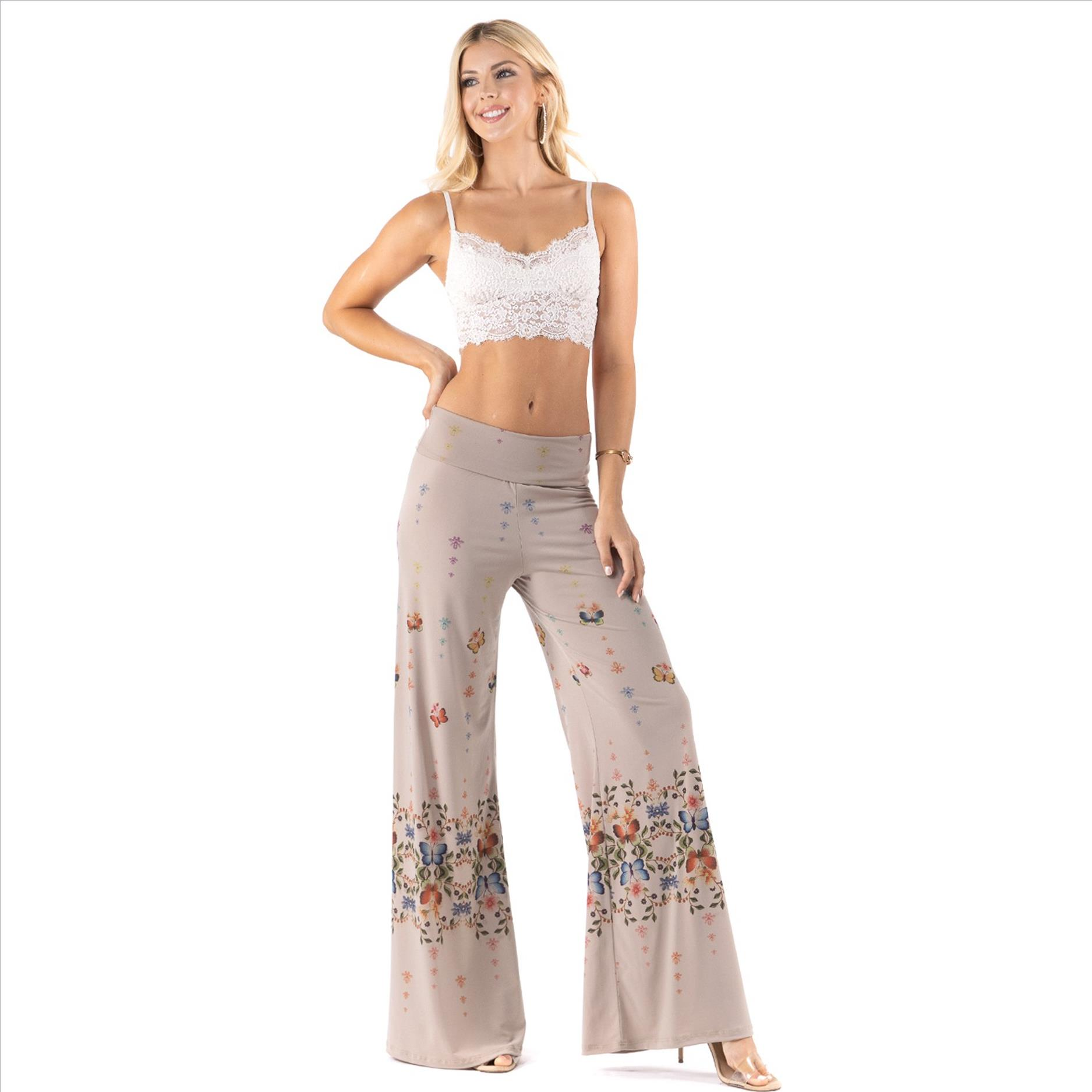 High Waist Palazzo Pants with Pockets - Butterfly Print