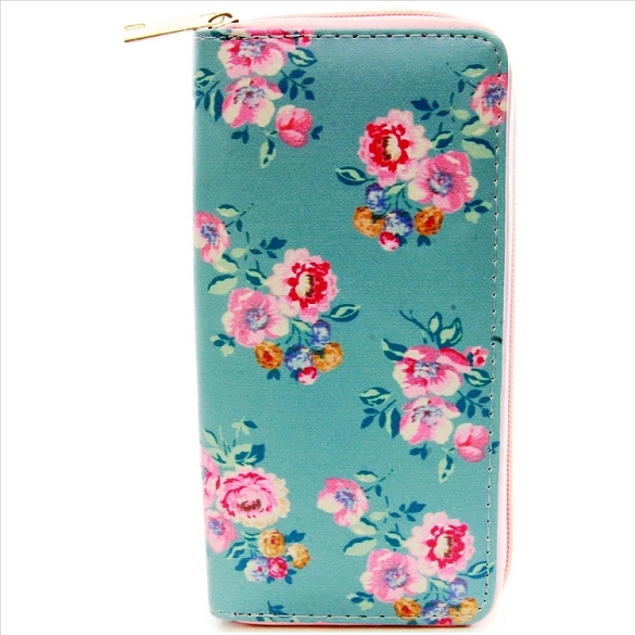 Flowers on Teal Wallet