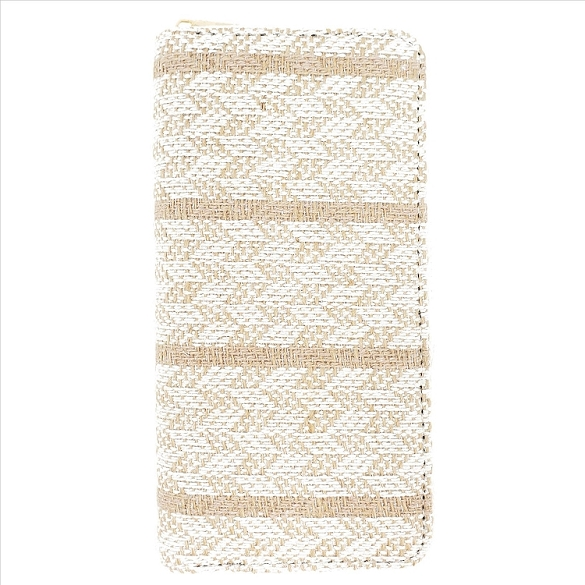 Striped Woven Wallet - Beige