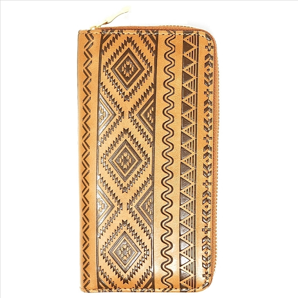 Embossed Design Wallet - Brown