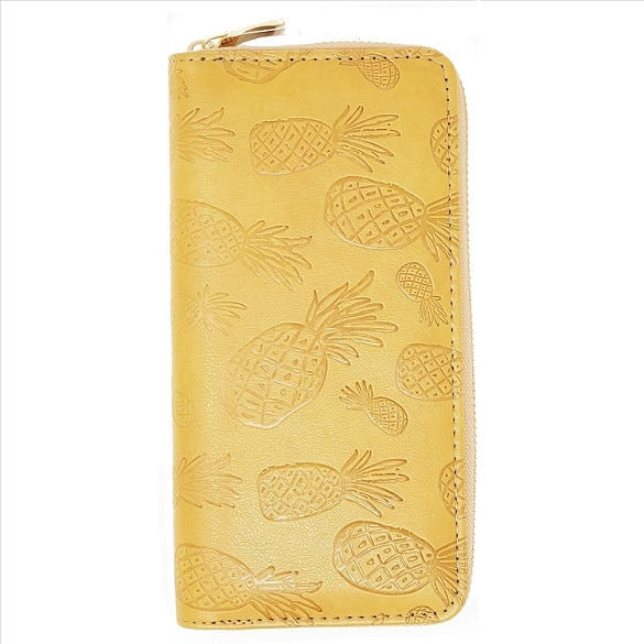 Embossed Pineapple Wallet - Caramel