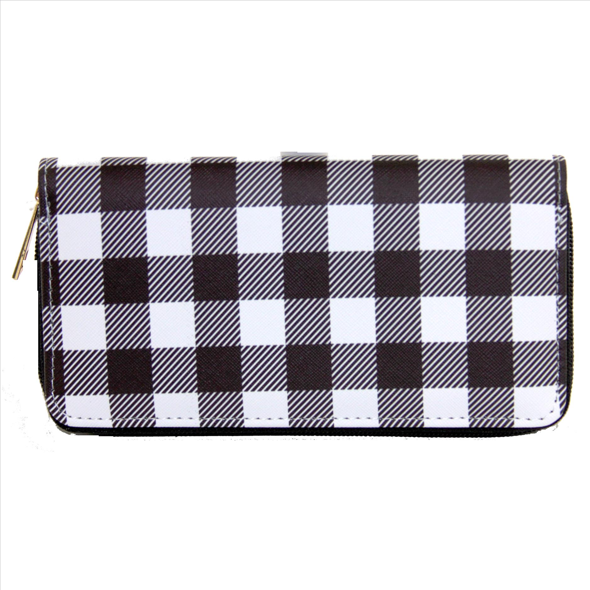 Buffalo Plaid Wallet - Black and White - 6 Pack