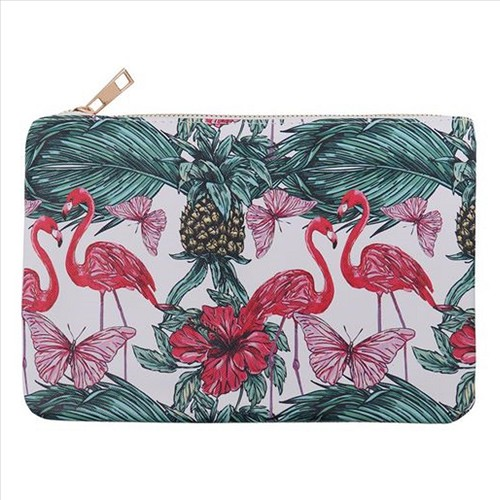 Tropical Flamingo and Butterfly Print Cosmetic Bag